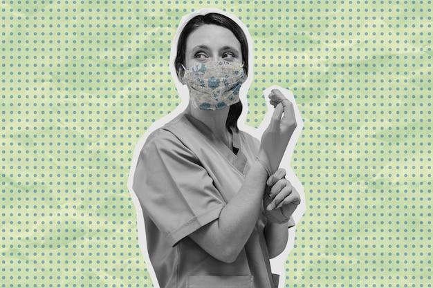 Medizinisches personal des coronavirus auf einem grünen banner
