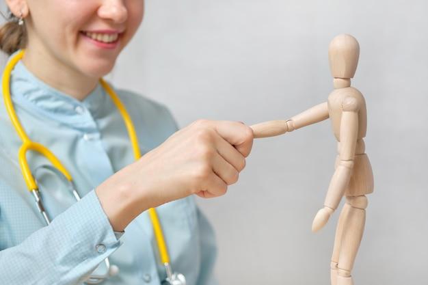 Medizinisches unterstützungskonzept für arzt und abstrakte kundenversicherung.