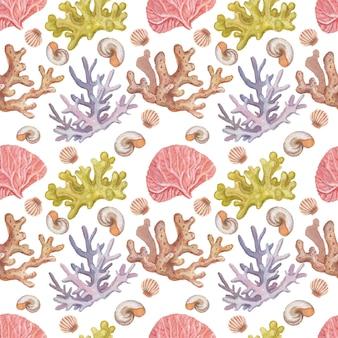 Meer ã¢â€â‹ã¢â€â‹reisen leuchtturm korallen muscheln strand aquarell illustration handgezeichnete print textilien vintage retro. patern nahtloses set cartoon-ozean