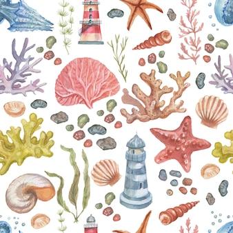 Meer reise leuchtturm quallen seestern korallen muscheln nahtlose muster strand aquarell
