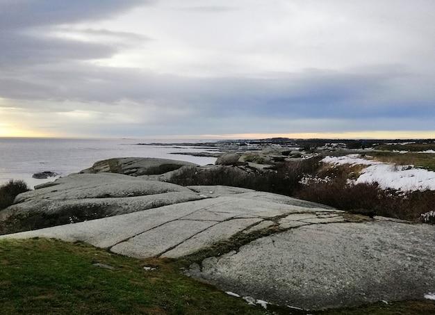 Meer umgeben von felsen bedeckt in zweigen unter einem bewölkten himmel während des sonnenuntergangs in norwegen