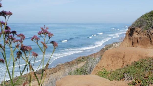Meerblick aussichtspunkt, del mar torrey pines, kalifornische küste usa. ozeanflut, blaue meereswelle mit blick