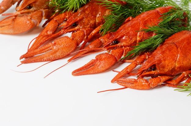 Meeresfrüchteteller mit roten gekochten panzerkrebsen