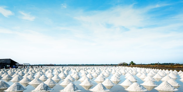 Meersalzfarm und scheune in thailand. rohstoff der salzindustrie. natriumchlorid. solarverdampfungssystem. jodquelle. arbeiter, der im bauernhof am sonnigen tag mit blauem himmel arbeitet.