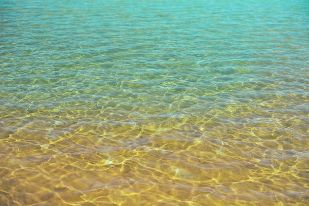 Meerwasser und sand am meerstrand. abstrakte beschaffenheit mit kopienraum für ihren text. sommer, urlaub und reisekonzept