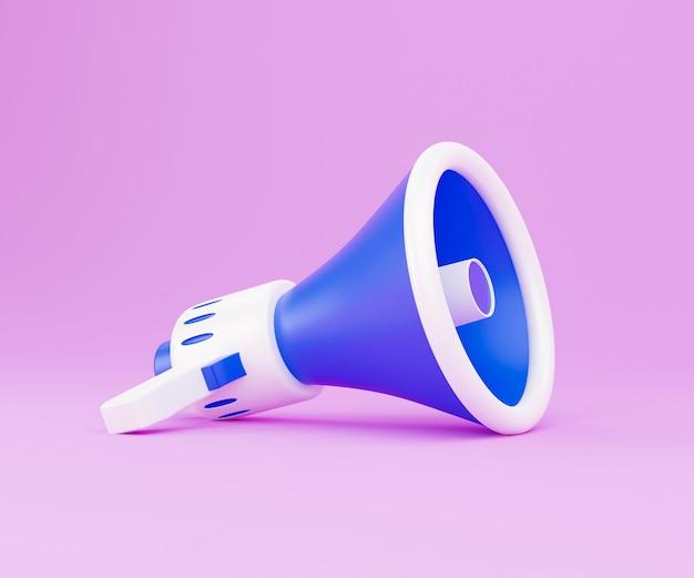 Megaphon auf rosa hintergrund. 3d-darstellung mit kopienraum. 3d-render weißes und blaues tragbares schnurloses megaphon liegt auf einem pastellrosa hintergrund. bringen sie ihre nachricht durch
