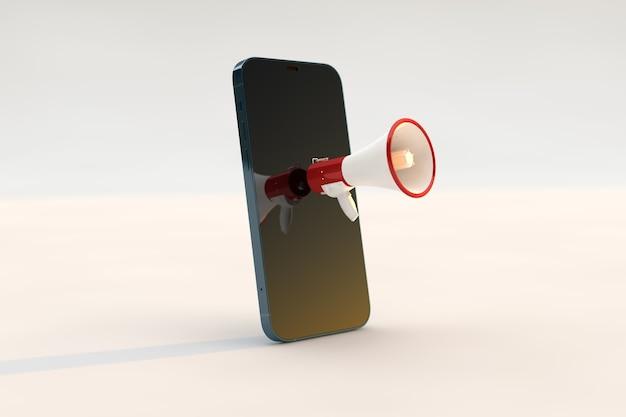 Megaphon-smartphone-konzept, marketing und geschäftsstrategie.