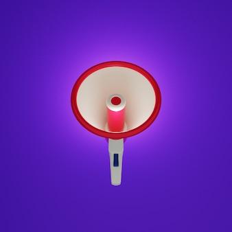 Megaphon-vorderansicht mit violettem hintergrund im 3d-design