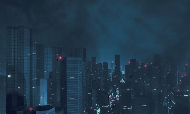 Megastadt in der nacht im bewölkten himmel