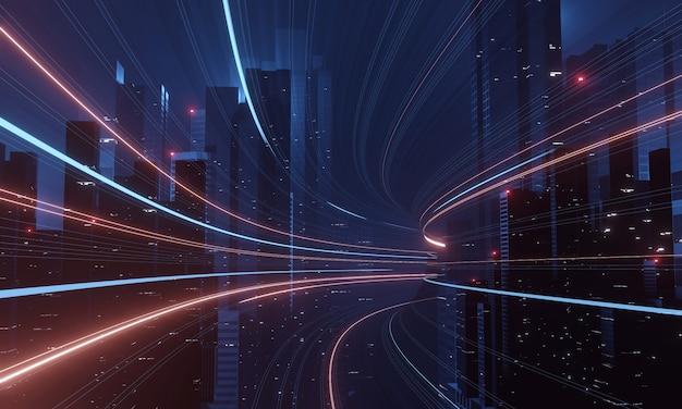 Megastadt mit wolkenkratzergebäuden und virtuellem kurventunnel