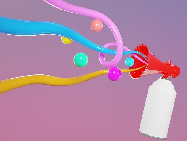 Mehaphone 3d-rendering mit bällen und wellengeräuschen