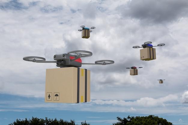 Mehrere drohnen fliegen mit einem karton über eine stadt. drohnen-lieferkonzept.