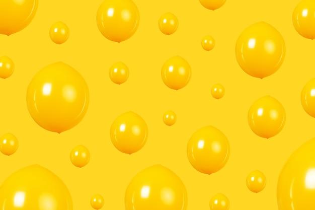 Mehrere gelbe luftballons auf gelbem hintergrund