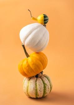 Mehrere kleine dekorative bunte kürbisse auf einer orange.