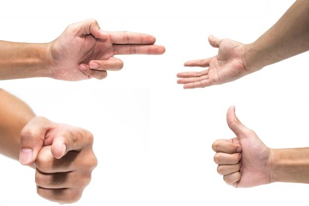 Mehrfache männliche handgesten lokalisiert über weißem hintergrund
