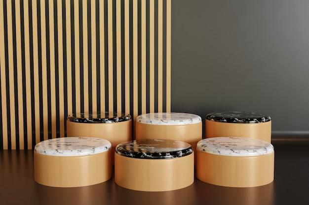 Mehrfachkeramik-marmor-holzpodest für schaufensterprodukt, luxusstand 3d gerenderter hintergrund