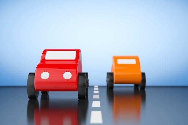 Mehrfarben-cartoon-spielzeugautos auf blauem grund. 3d-rendering