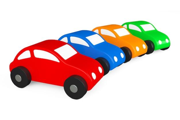 Mehrfarben-cartoon-spielzeugautos auf weißem hintergrund. 3d-rendering