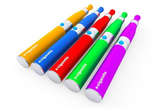 Mehrfarbige elektronische zigaretten auf weißem hintergrund