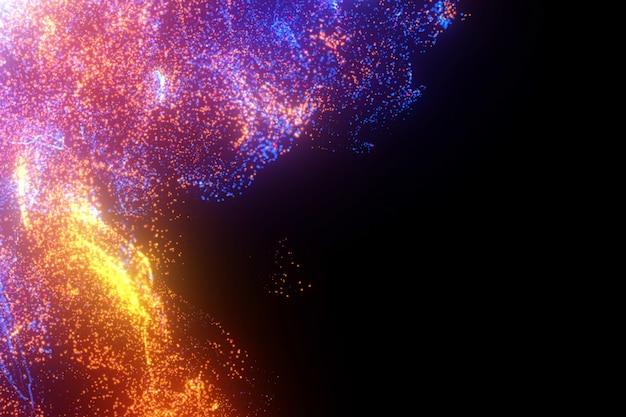 Mehrfarbige flamme. glühender hintergrund der hellen partikel