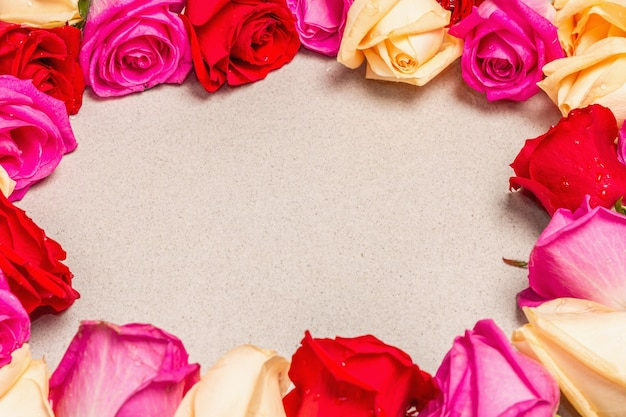 Mehrfarbige frische rosen in rahmenform auf hellem steinhintergrund. festliches geschenk, grußkarte für ostern, geburtstag, valentinstag oder hochzeit. urlaubskonzept, ein platz für text