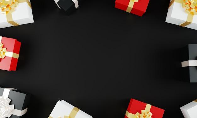 Mehrfarbige geschenkboxen auf schwarzem hintergrundmodell. ansicht von oben. urlaub präsentiert konzept. black friday-verkaufskonzept. 3d-darstellung.