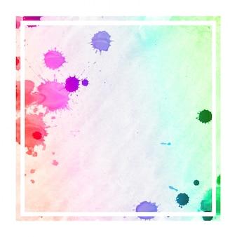 Mehrfarbige hand gezeichnete rechteckige rahmen-hintergrundbeschaffenheit des aquarells mit flecken