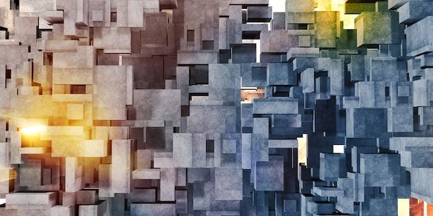 Mehrfarbige hintergrundarchitektur des würfelbetons polygongeometrie 3d-rendering der betonoberfläche