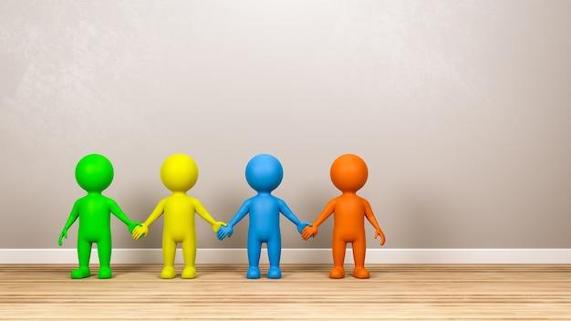 Mehrfarbige menschliche 3d-charaktere, die hände im raum halten