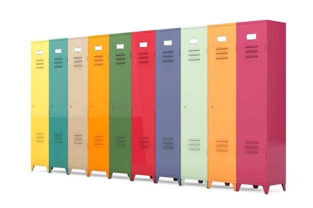 Mehrfarbige metallschließfächer auf weißem hintergrund
