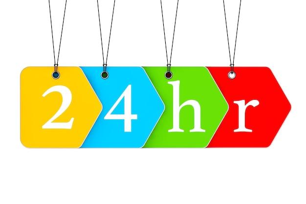 Mehrfarbige open- oder service-24-stunden-tags auf weißem hintergrund