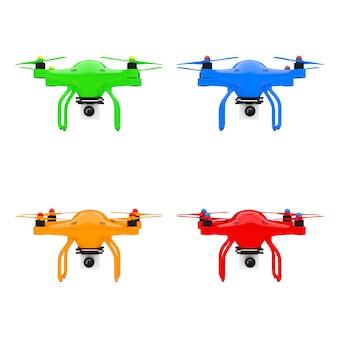 Mehrfarbige quadrocopter-drohnen mit fotokamera auf weißem hintergrund. 3d-rendering