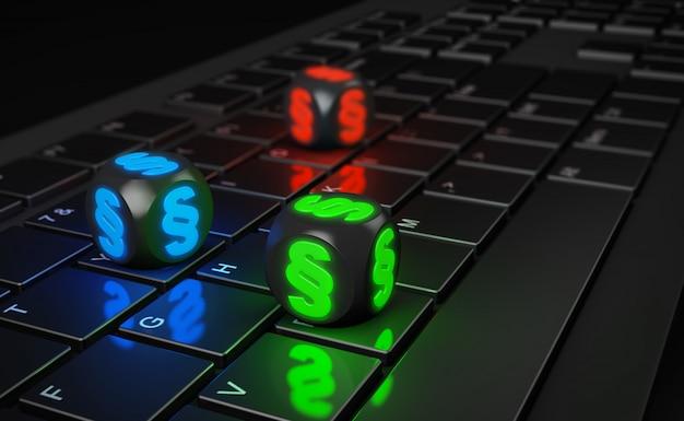 Mehrfarbige würfel mit absatzzeichen auf computertastatur. 3d render