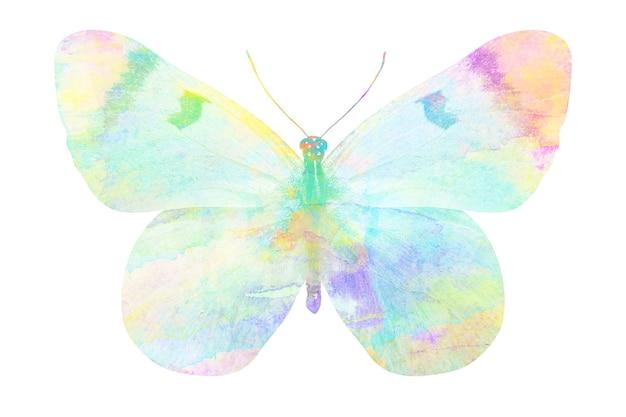 Mehrfarbiger aquarellschmetterling. tropisches insekt für design. isoliert auf weißem hintergrund