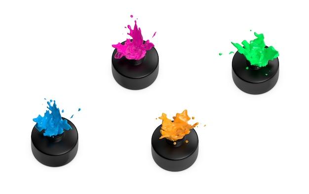 Mehrfarbiger flüssigkeitswirbel aus mini-flaschenpackung in isometrischer draufsicht rendern