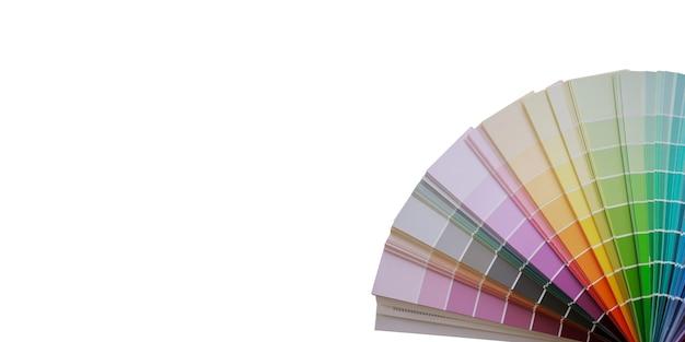 Mehrfarbiger musterfarbradkatalog auf weißem hintergrund isolieren