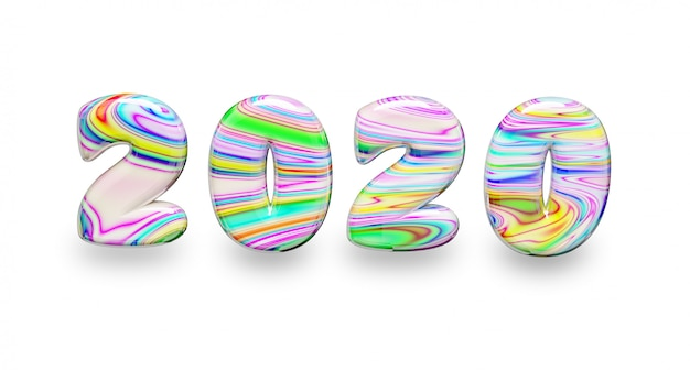Mehrfarbiges wort 2020 des neuen jahres der bonbons auf einem weiß lokalisiert