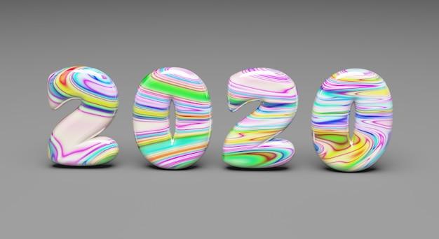 Mehrfarbiges wort 2020 des neuen jahres der bonbons auf grau