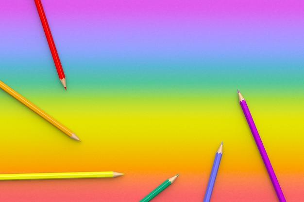 Mehrfarbstifte auf einem regenbogenhintergrund mit kopierraum. 3d rendern.
