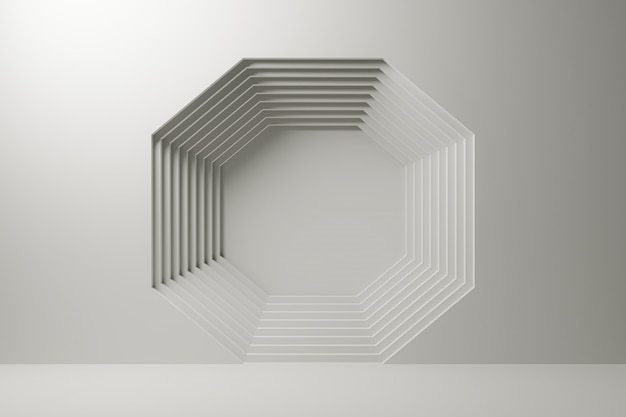 Mehrschichtige zusammenfassung des achtecks auf weißem hintergrund.