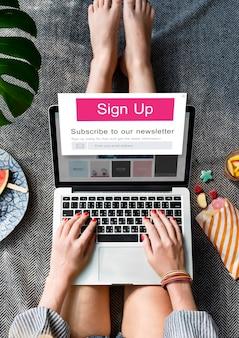 Melden sie sich bei uns registrieren newsletter-konzept