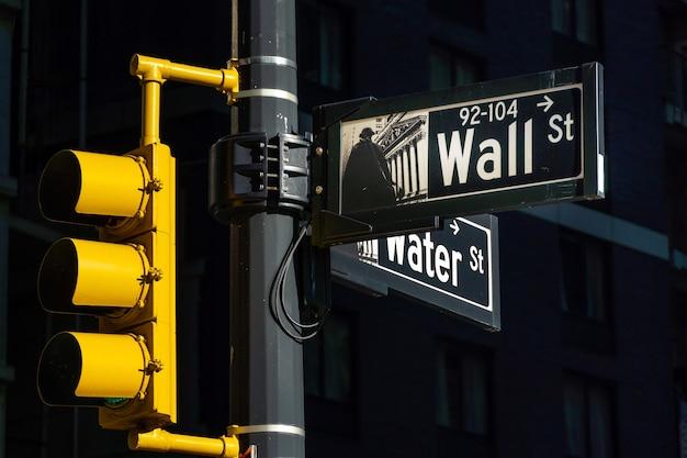 Melden sie sich für die wall street in new york city, manhattan, usa