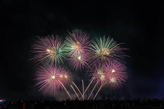 Menge sieht feiertagsfeuerwerk im dunklen abendhimmel aus.