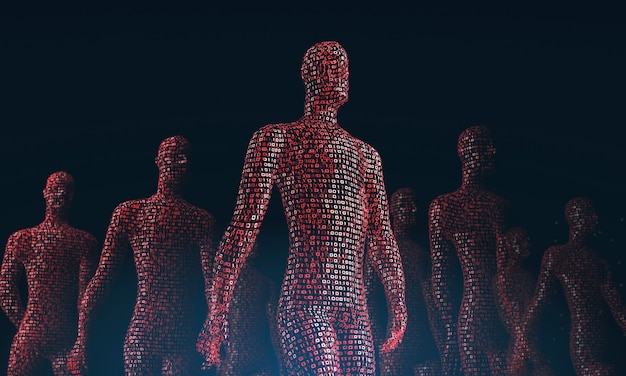 Menge wandelnder roter digitaler menschen das konzept der menschlichen abhängigkeit von einem computer-d-rendering