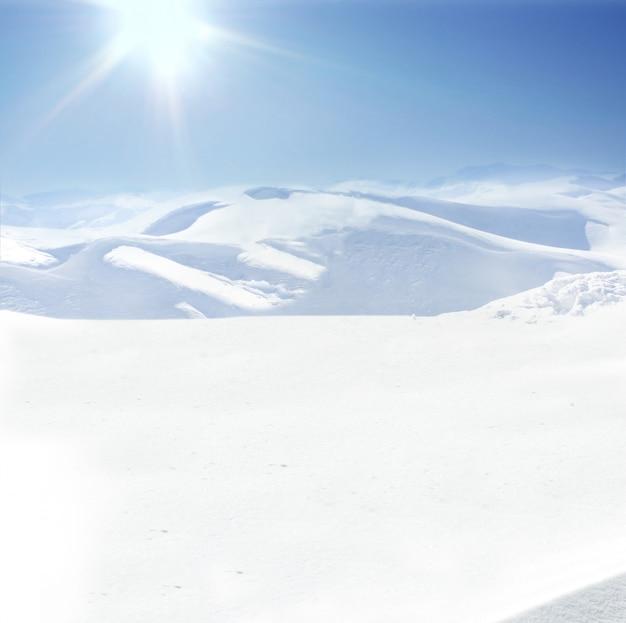 Mensch auf berg, winter, schnee, spaziergang