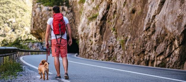 Mensch und hund auf der straße spazieren