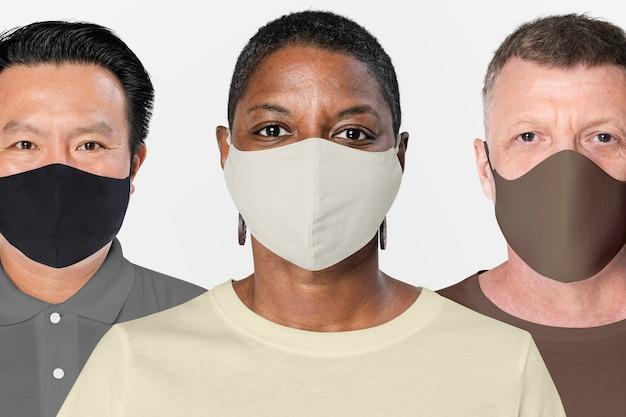 Menschen auf der ganzen welt tragen während der pandemie gesichtsmasken