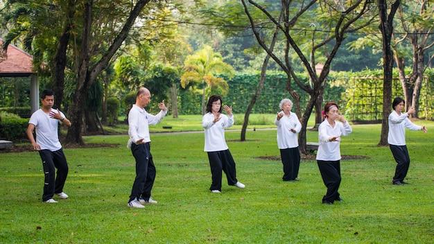 Menschen, die tai chi im park üben