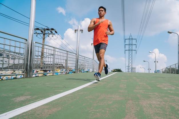 Menschen, die übungen machen und sich aufwärmen, bevor sie laufen und joggen; gesunder lebensstil cardio zusammen im freien