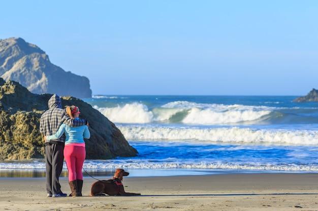 Menschen mit hunden genießen den blick auf die meeresbrandung